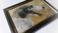 「ロシアのボルゾイ」(コーヒーで色付けた紙、鉛筆、パステル)