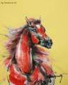 今日の墨絵:「赤い馬、猛暑」