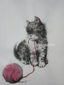 """""""A Kitten playing with the red yarn"""""""