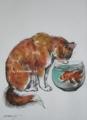 「誘惑:猫と金魚」