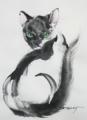 「エメラルド色の目の猫」(和紙、墨)