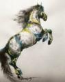 立ち上がる馬」和紙、墨