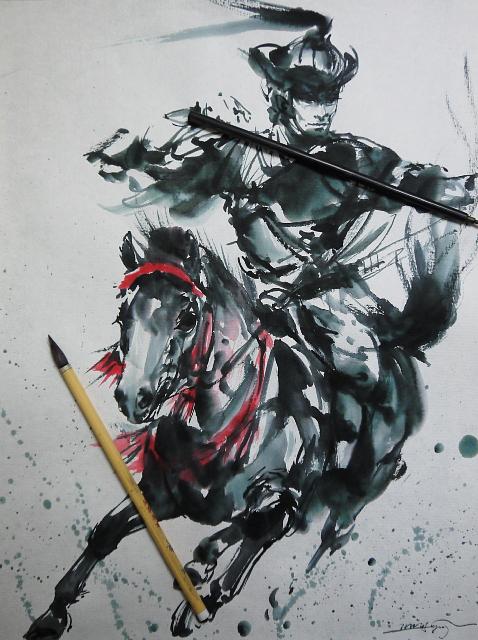 今日の墨絵:「矢を放つ武士」