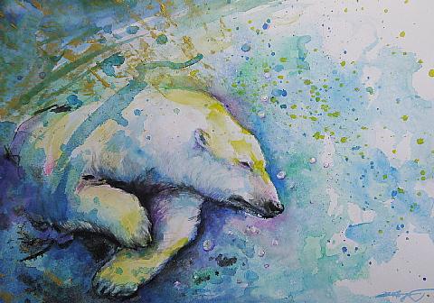 """Polar Bear having fun!"""