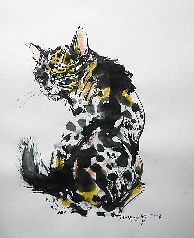 振り向くヒョウ柄の猫