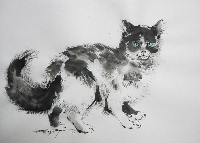 今日の墨絵「振り向く野良猫」