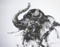 今日の墨絵「若いエレファント」