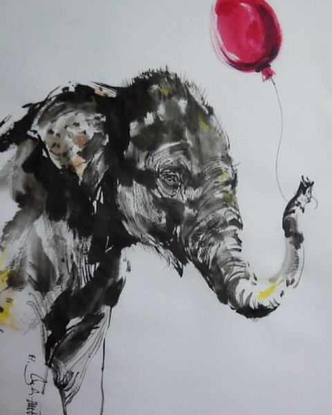 """""""Baby elephant and the red balloon 🎈 """""""