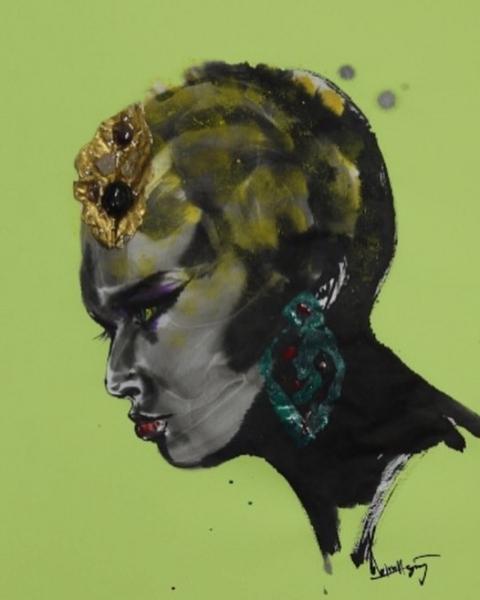 髪飾りの女性