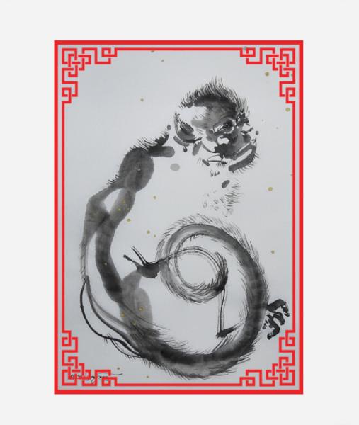 今日の墨絵。「雪を見つめる猿」