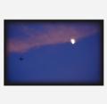 月と飛行機からなる風景。