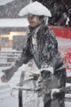 『京都新聞写真コンテスト 雪の嵐山…車夫の心意気』
