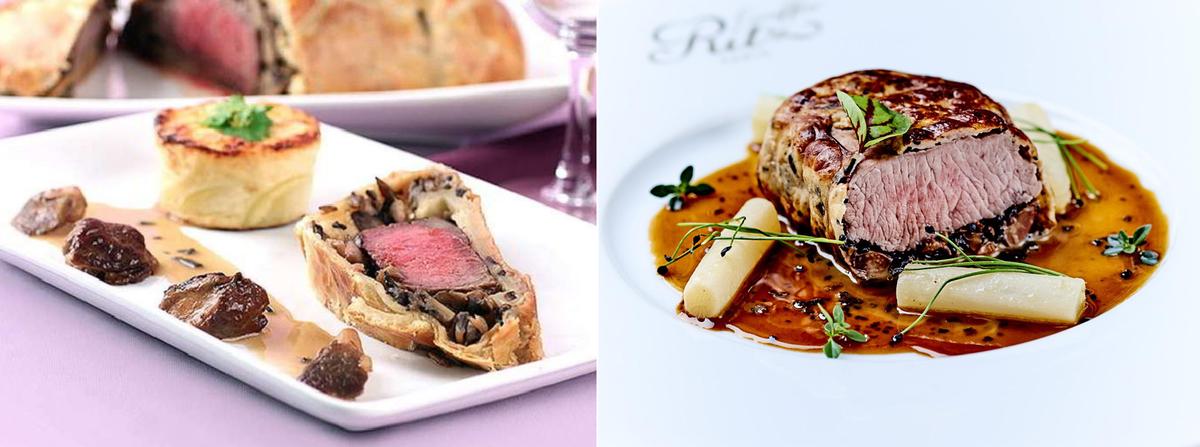 左 Filet de Boeuf rôti en Croûte sauce Périgueux 右Carré d'agneau rôti en Croûte sauce Périgueux