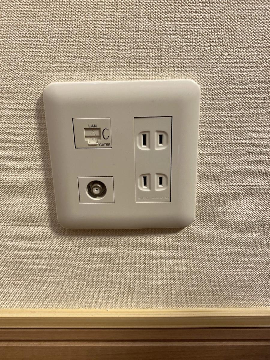 各部屋にある有線LANのジャック