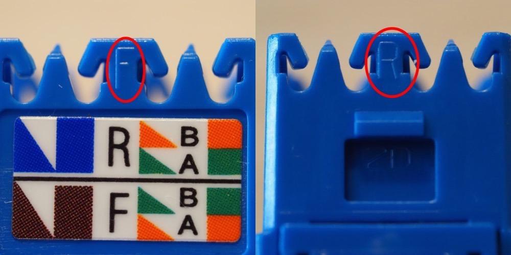 """結線部分をよーくよーく眺めてみると """"F"""" と """"R"""" の小さな刻印が‥"""