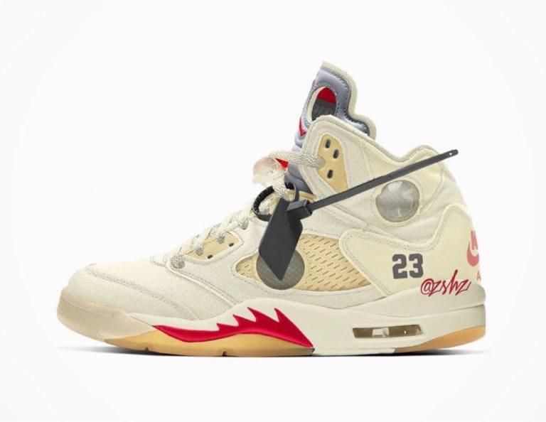 "【Off-White™ × Nike】Air Jordan 5 Retro ""Sail"""