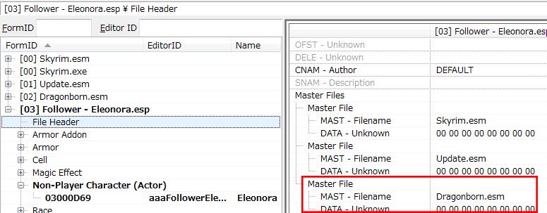 FileHeaderのマスターファイル