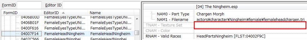 TextureSet指定の無いHeadPart