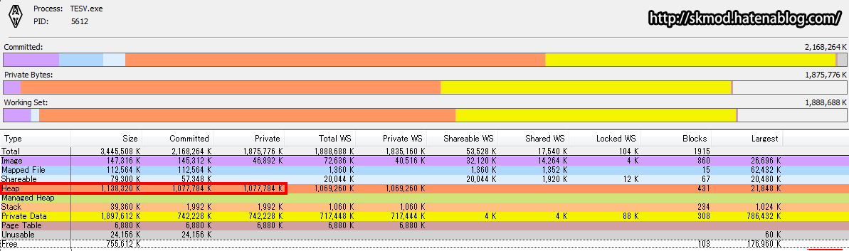 TESV.exeのヒープから500MB分フラッシュ