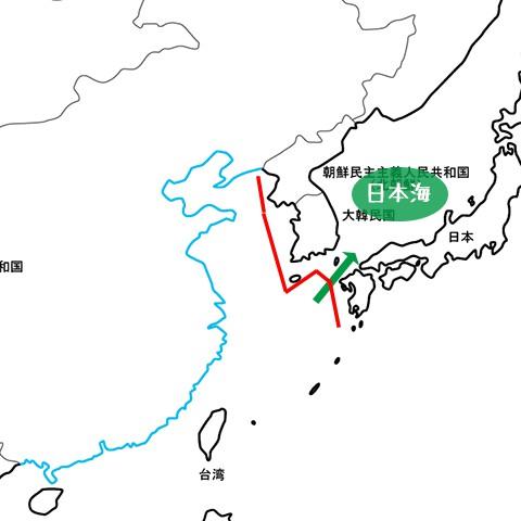 中国の日本海侵入航路