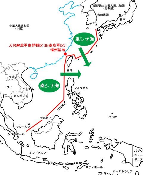 中国の太平洋侵入航路