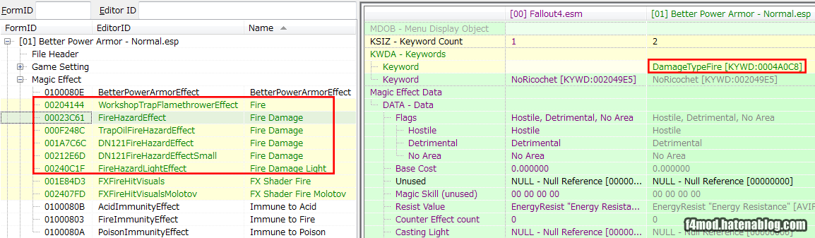 炎エフェクトにKeywordを追加