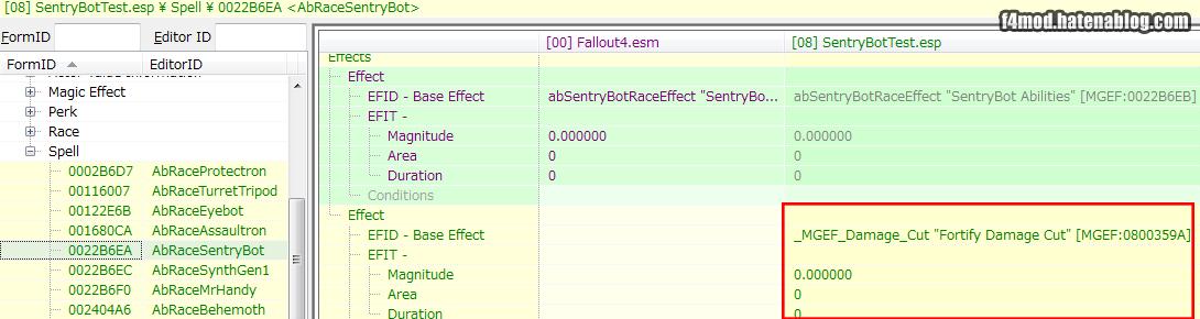 MagicEffectをsentrybotのSpellに追加