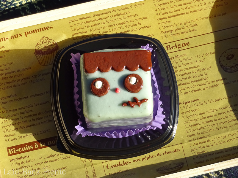 A cake with a cute design on Frankenstein's face