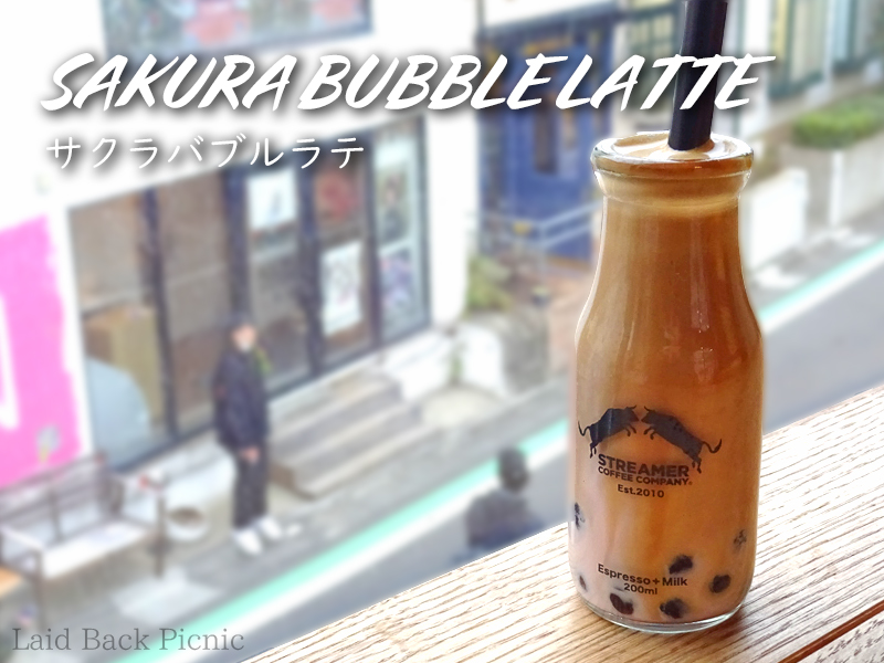 Sakura bubble latte on the windowsill