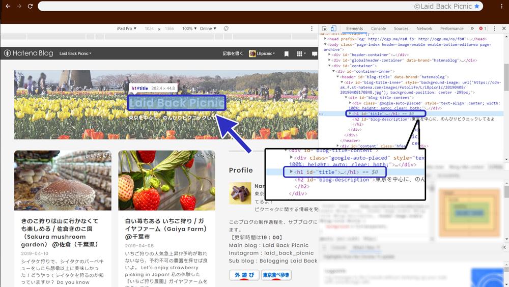 デベロッパーツールが、ブログタイトルを『h1』と示している