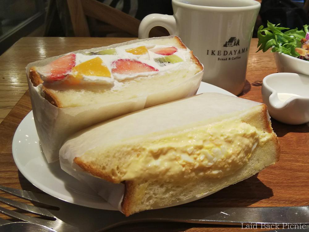 Fruit sandwich and egg sandwich