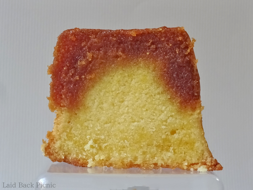 Beautiful cross section of baked pudding is 2 layer color