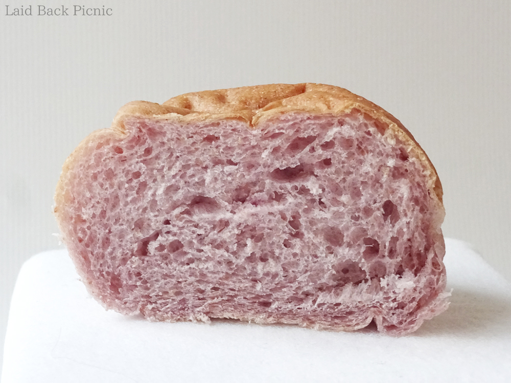 Bread cross section is a beautiful light purple