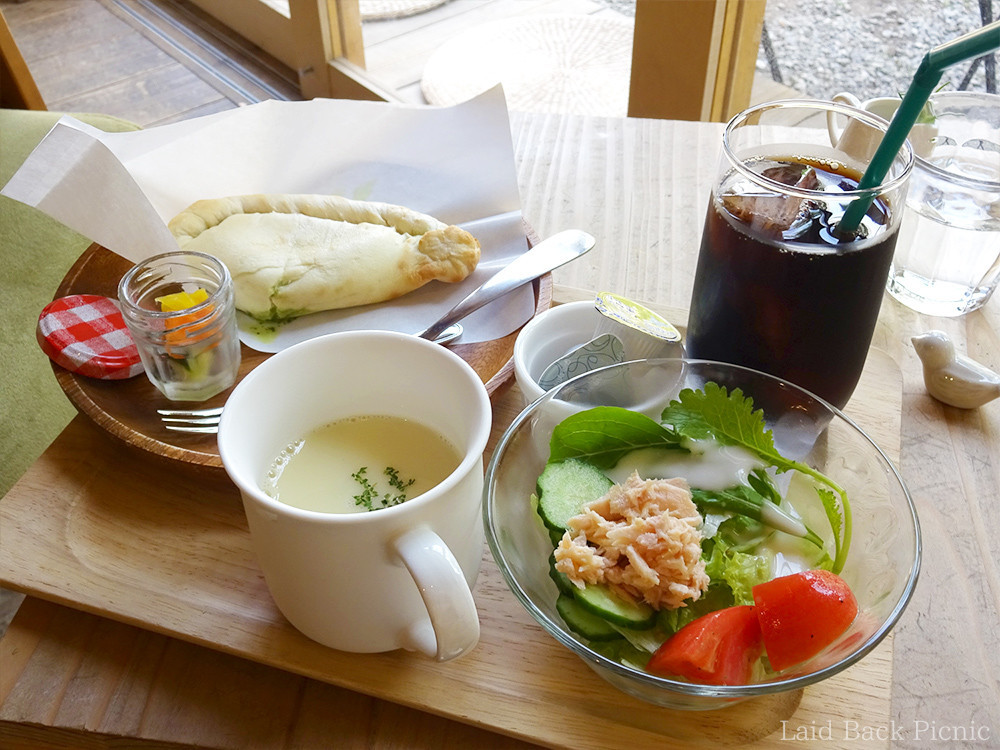 Wrapped pizza + Salad + Soup + Iced Coffee