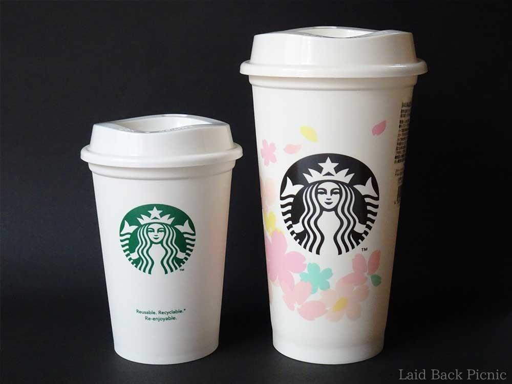 左:ショートサイズのカップ、右:グランデサイズのカップ