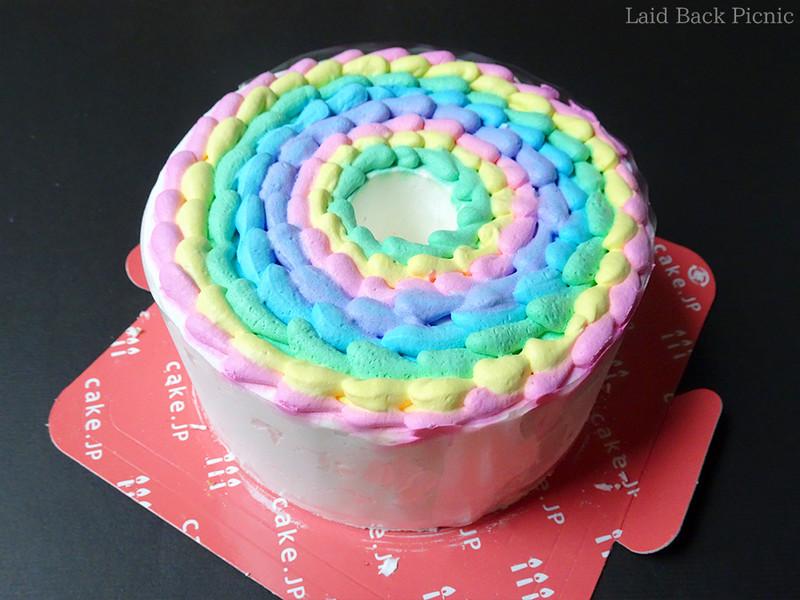 ケーキの養生を外すとケーキが姿を現した