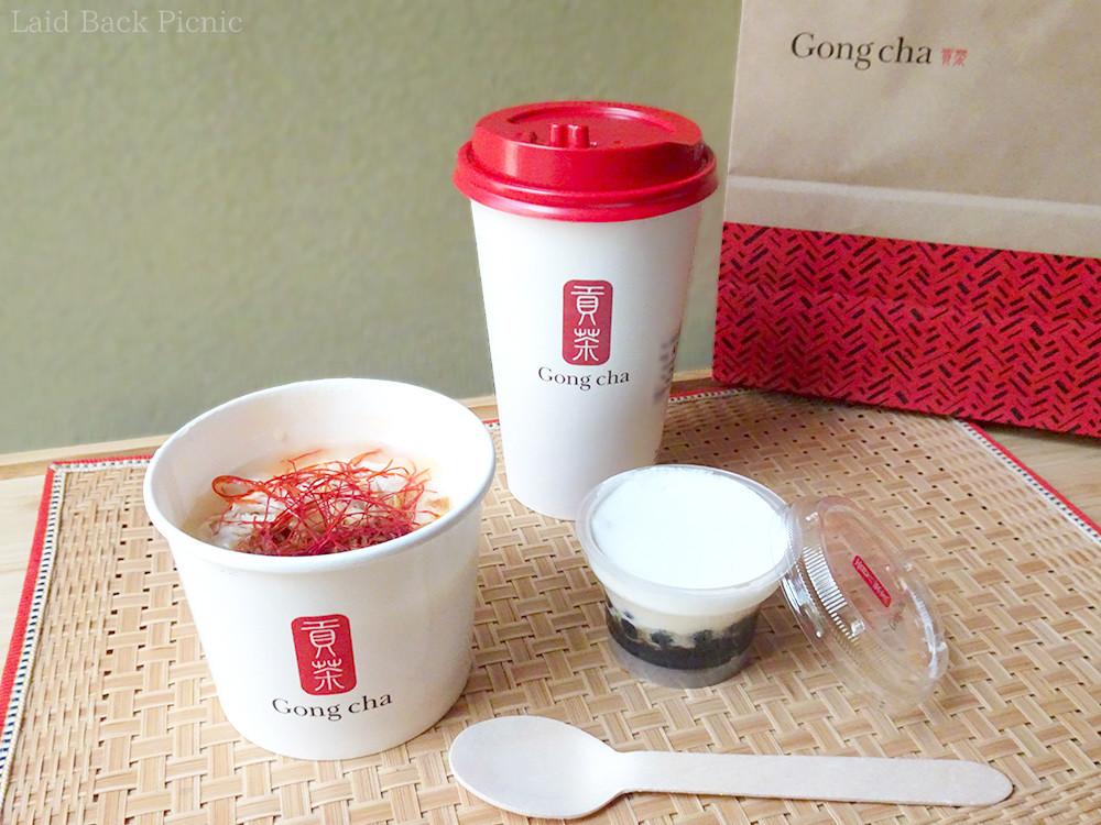 お粥+お茶とデザートのクリーミータピオカ