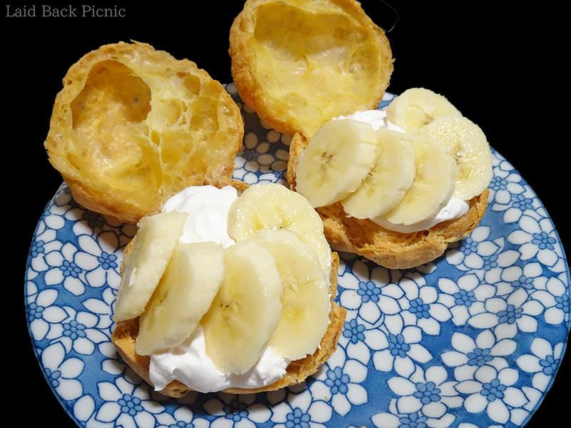 横から見てキレイに見えるようにバナナを並べる