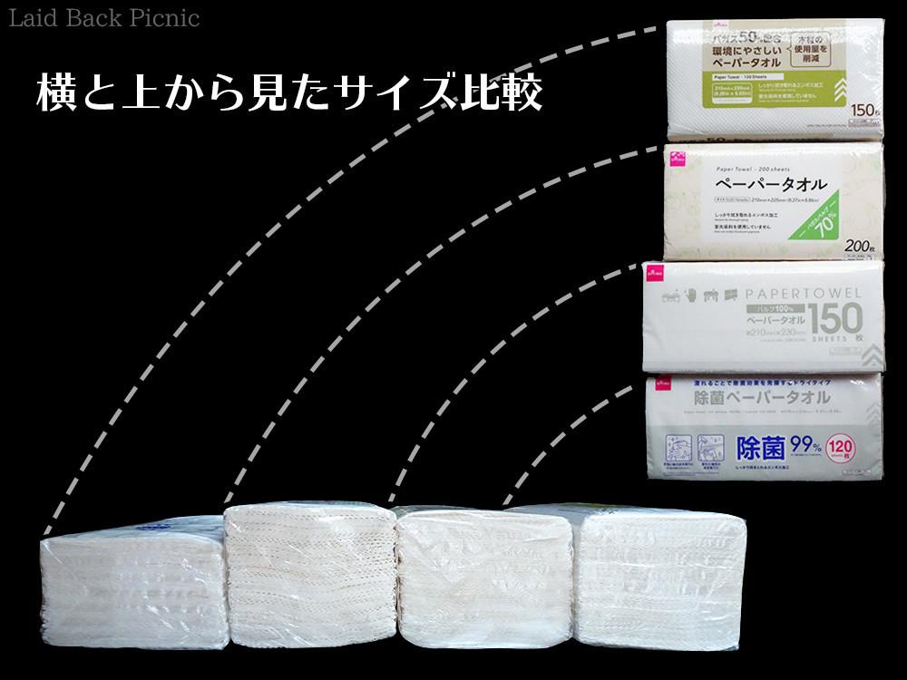 横長なのは除菌ペーパータオルとパルプ100%ペータータオル