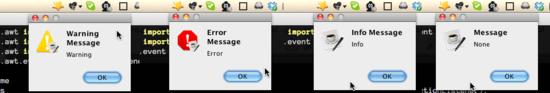 menubar application message