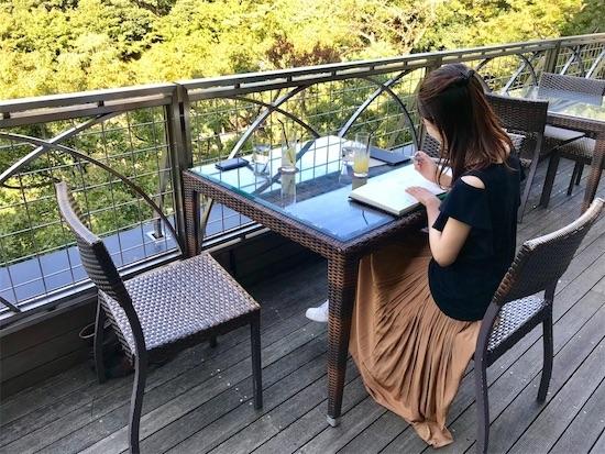 スラッシュカフェでアニュアルレターを書く私