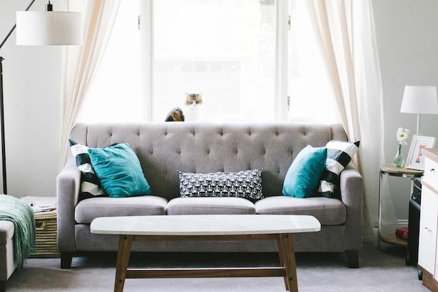 キレイに整えられたリビングのソファー