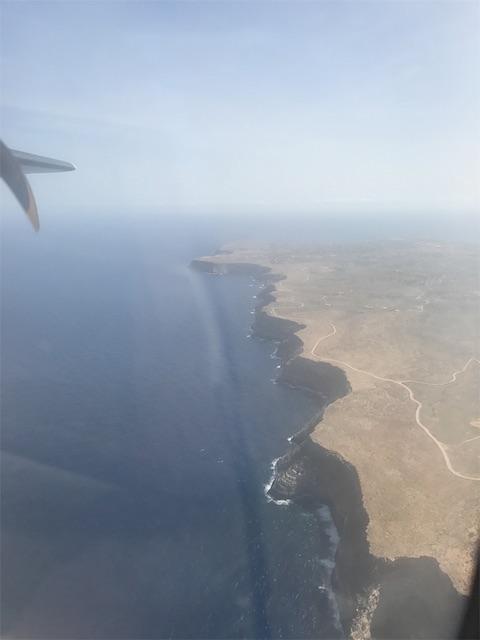 プロペラ機から見たランペドゥーザ島の北側