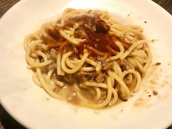 ハンバーグをくずして混ぜたスパゲティ