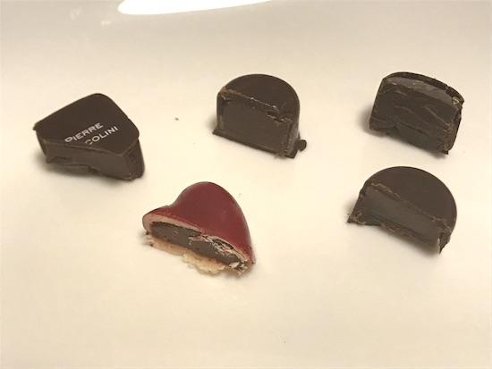 ピエールマルコリーニのチョコの断面5種