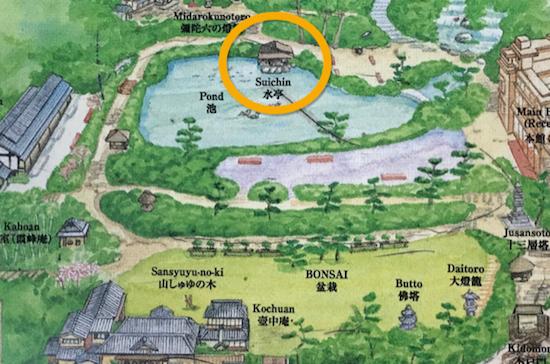 八芳園庭園図の水亭の場所