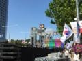 設営終わった江南韓流フェスティバルのステージ