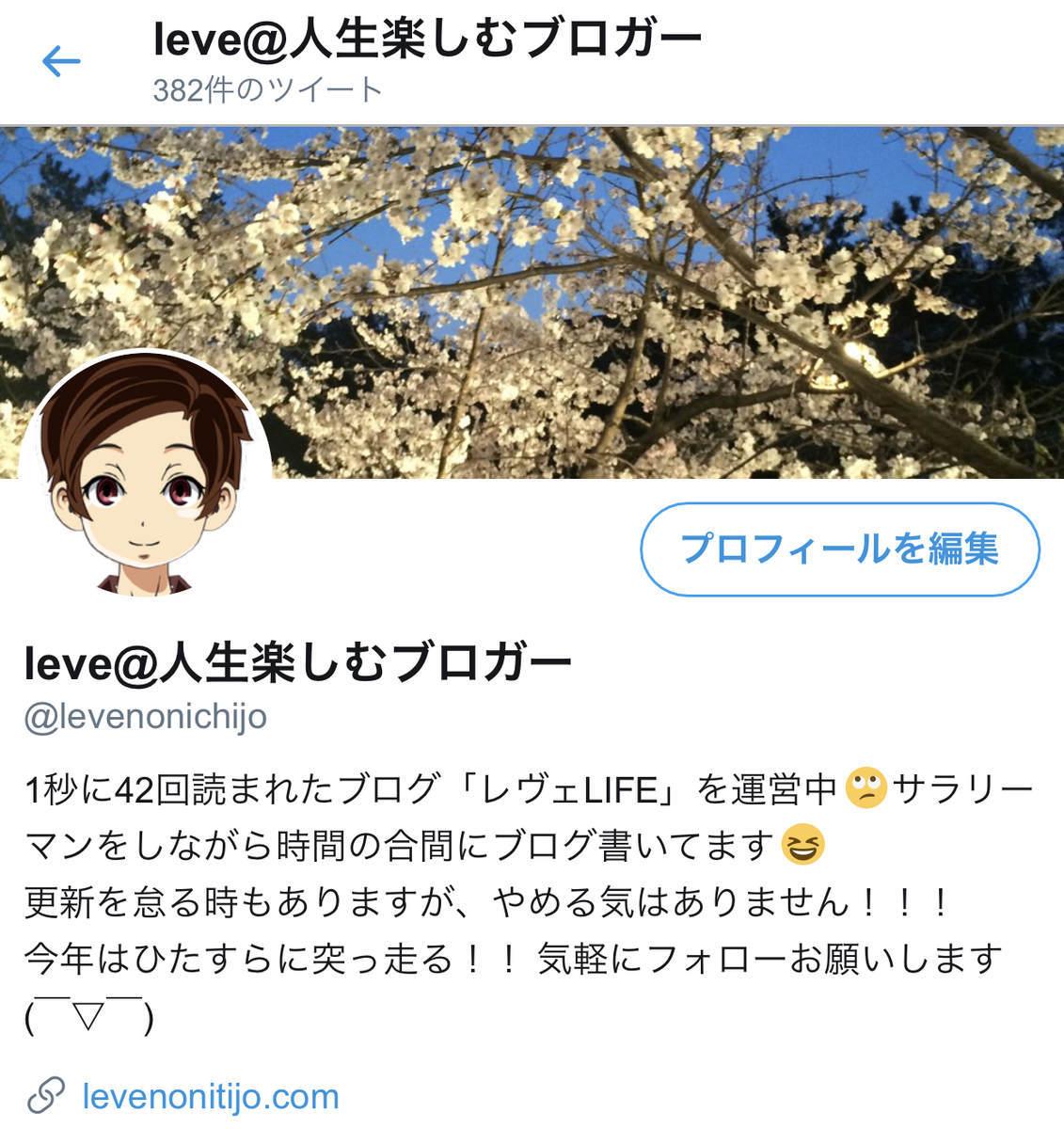レヴェのTwitterのプロフィール