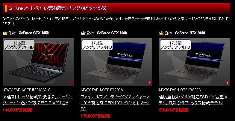 マウスコンピュータ|ゲーミングノートトップPC売上上位