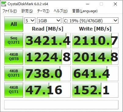 ガレリアGCR2070RNF|SSDベンチ